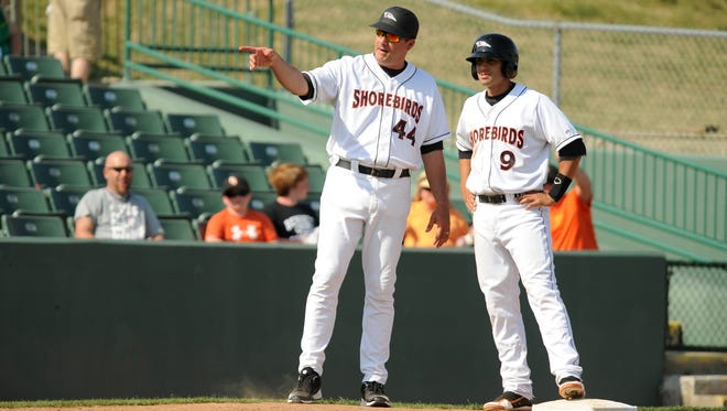 Delmarva Shorebirds manager Ryan Minor (left) and his coaching staff won the Cal Ripken Sr. Player Development Award from the Baltimore Orioles on Thursday.