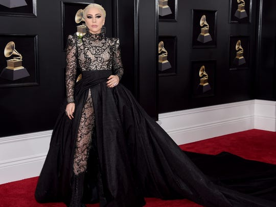 Lady Gaga arrives at the Grammy Awards at Madison Square