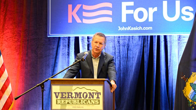Ohio Gov. John Kasich, a Republican presidential candidate, speaks to a crowd of several hundred attendees at the Vermont GOP's Fall Harvest Dinner fundraiser at the Hilton Burlington hotel on Friday, Oct. 9, 2015.
