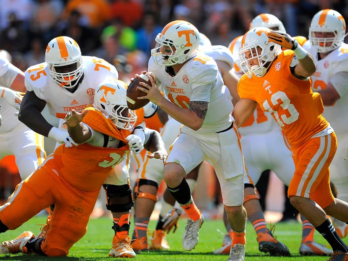 Riley Ferguson (10) could be Tennessee's starting quarterback by the fall.