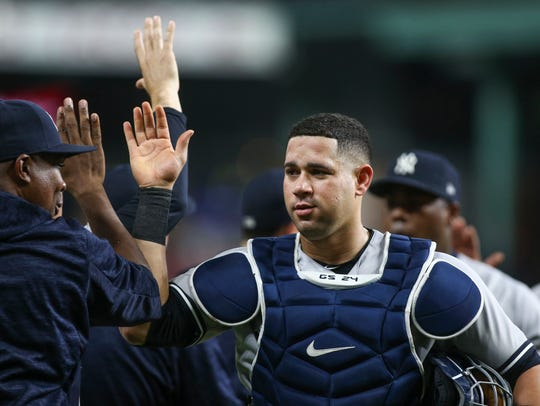 New York Yankees catcher Gary Sanchez celebrates with