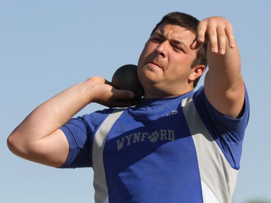 Wynford's Seth Hoffman was a regional qualifier in the shot put during Thursday's Division III district meet at Bucyrus High School.