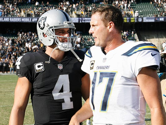 Oakland Raiders quarterback Derek Carr (4) greets Los Angeles Chargers quarterback Philip Rivers (17) after an NFL football game in Oakland, Calif., Sunday, Oct. 15, 2017. The Chargers won 17-16. (AP Photo/D. Ross Cameron)