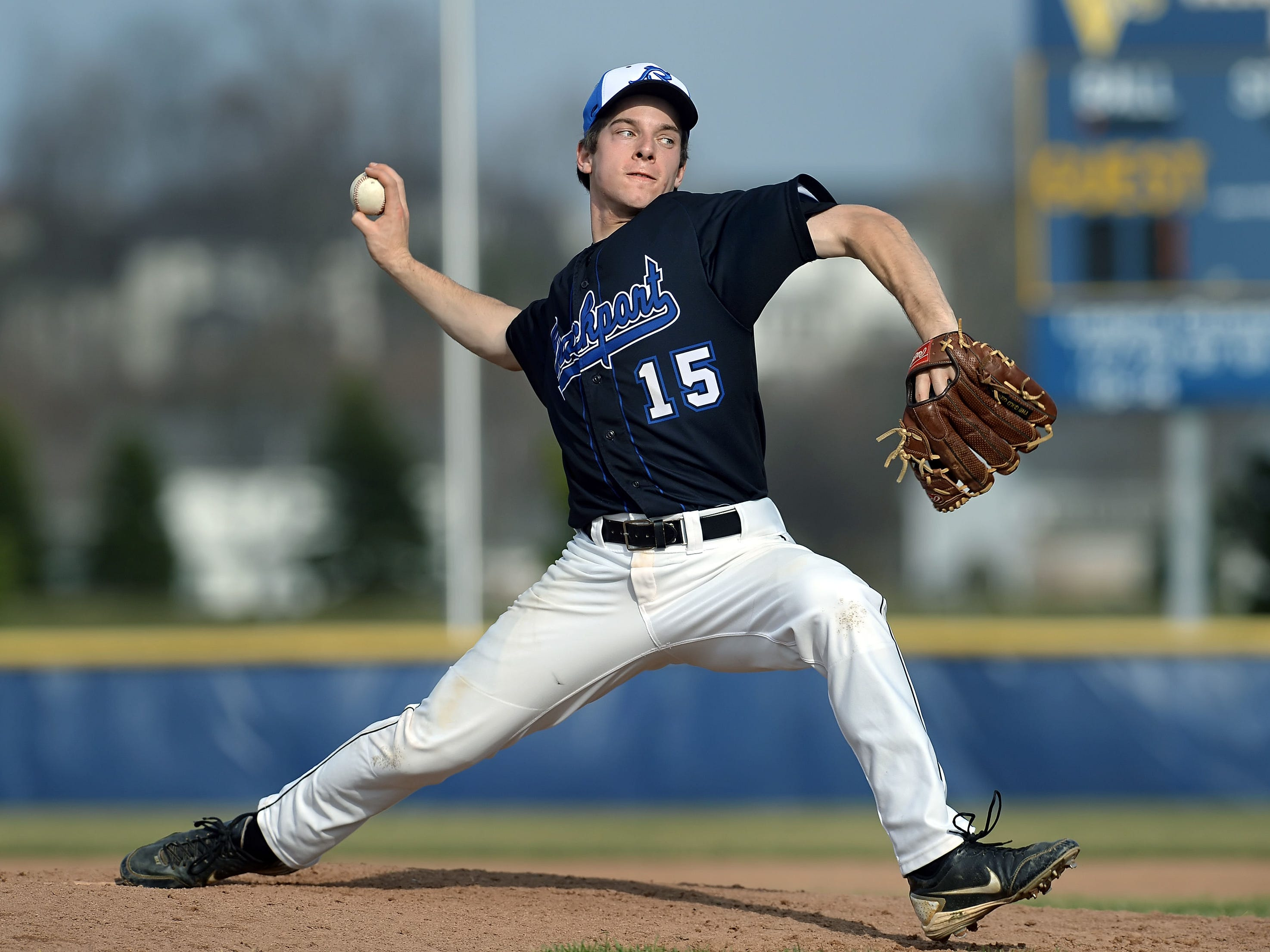 Brockport pitcher Thomas Pauly got the start during a regular season game played at Victor High School on Monday, April 13, 2015. Brockport beat Victor 5-3.