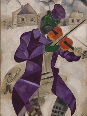 "Marc Chagall (Russian-French, 1887-1985), ""Green Violinist"" (""Violiniste""), 1923–24 oil on canvas, 78 × 42 3/4 inches (198 × 108.6 cm), Solomon R. Guggenheim Museum, New York; Solomon R. Guggenheim Founding Collection, By gift 37.446 © 2015 Artists Rights Society (ARS), New York/ADAGP, Paris"