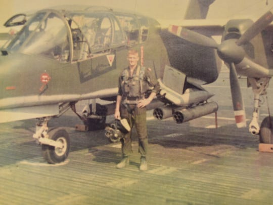 Retired Marine Lt. Col. Charles Lea is pictured in Vietnam. Lea flew during two tours in Vietnam as copilot on the H-34D helicopter and later as a pilot of a OV-10 Bronco attack and reconnaissance plane.