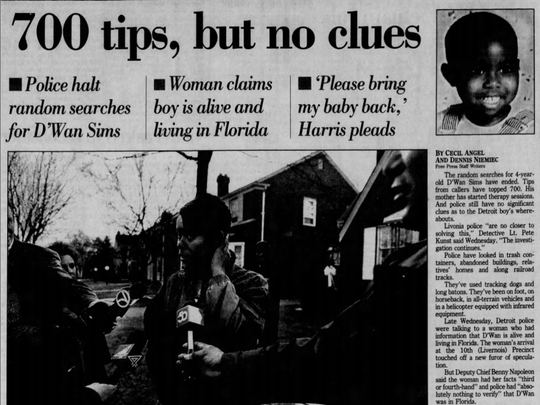 A story reports on the search for D'Wan Sims Dec. 22, 1994.