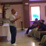 Angola prison inmate and Opelousas native Ron Hicks speaks to a group of students from his hometown as they visit the Louisiana State Penitentiary in Angola, La. Hicks, who is serving a life sentence for second-degree murder, urged the students to stay away from people who would distract them from studying, and to focus on their own goals and dreams.