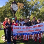 Members and guests of the Philip Livingston Chapter, Daughters of the American Revolution, celebrated the 228th anniversary of the signing of the U.S. Constitution at 4 p.m. Sept. 17 under the clock in front of the Howell Carnegie District Library.