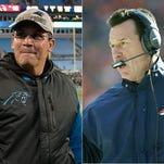 Panthers coach Ron Rivera and Broncos coach Gary Kubiak.