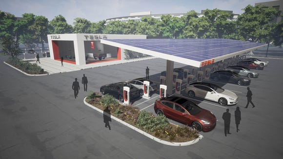 A rendering provided by Tesla shows an expanded Supercharger