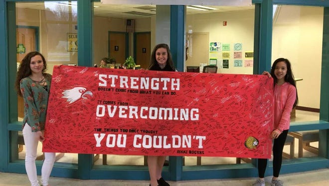 The banner created by Selbyivlle Middle School students to be sent to Marjory Douglas High School in Florida.
