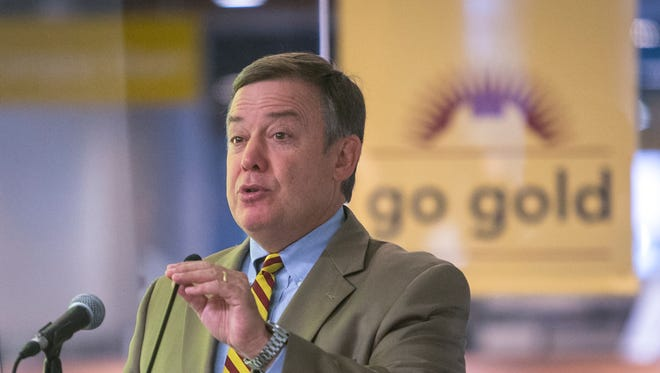Arizona State University President Michael Crow introduces the ASU Athletic Facilities District to more than 200 ASU supporters and local officials, at the College Avenue Commons, in Tempe, on Wednesday, October 8, 2014.
