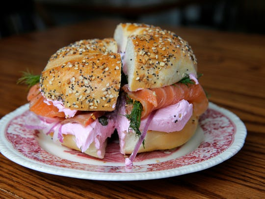 An everything bagel with beet horseradish cream cheese and house-cured salmon at Cardinal in Asbury Park, which is open for takeout and delivery.