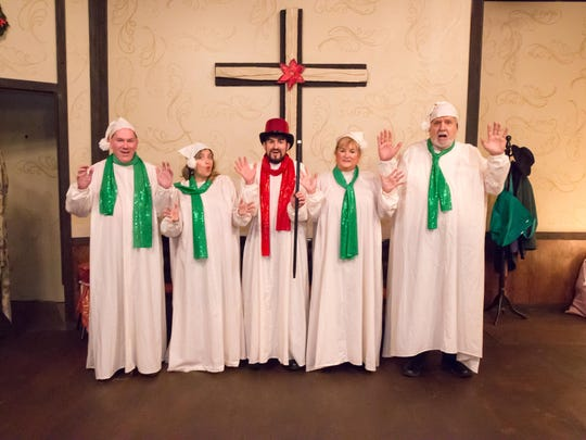 """The Aumsville Community Theatre cast rehearses for its production of """"Uh-Oh, Here Comes Christmas."""""""