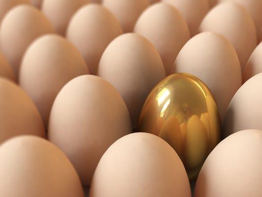 Golden Egg In Tray