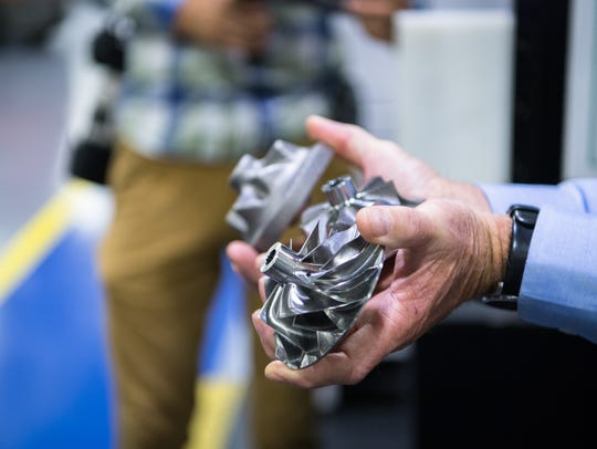 Automotive turbo components, manufactured by BorgWarner.