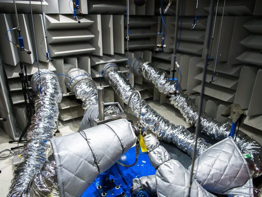 A sound proof room at BorgWarner's manufacturing facility