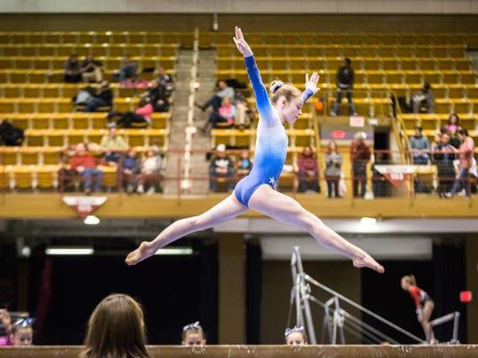 An athlete from Southeastern Gymnastics, based in Weddington,