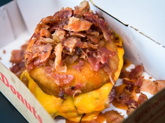 Duck Donuts' OBX donut breakfast sandwich with Texas