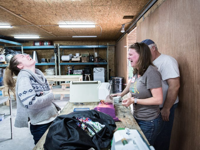 Lora Ristau, of Barnardsville laughs with Christine
