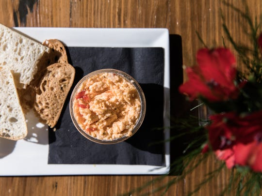 Pillar Rooftop Bar's pimento cheese and crackers plate.