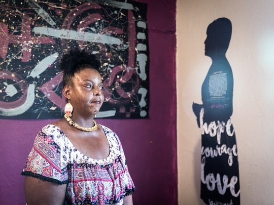 DeLores Venable, president of Asheville Black Lives Matter and local activist, at a coworking space for United Community Development, the Southside Organization and Asheville Black Lives Matter.