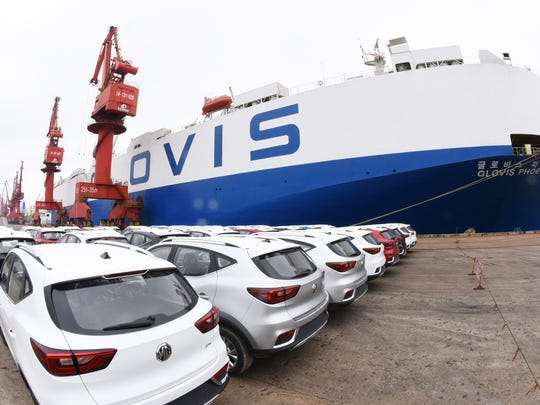 MG cars produced by SAIC Motor Corp (Shanghai Automotive Industry Corporation) waiting to be exported to the US at a port in Lianyungang in China's eastern Jiangsu province on May 26, 2018.