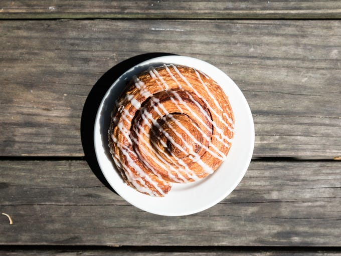 A cinnamon bun offered at the Flat Rock Village Bakery