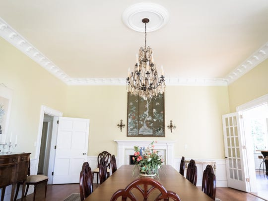 The dining room in the historic Flat Rock home of Lori