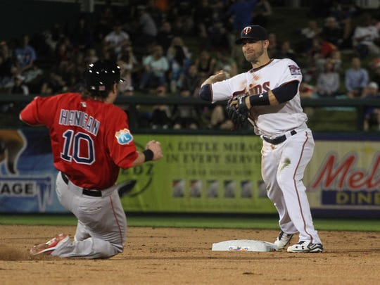 Brian Dozier, of the Minnesota Twins, makes a play