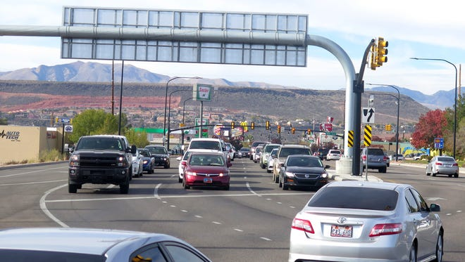 Motorists fill the lanes along the St. George Boulevard interchange with Interstate 15 on Monday, Jan. 23, 2015.