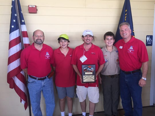 From left, Evan Reif-District Executive of Boy Scouts of America-Gulfstream Council, Alex Wernick, Peter Wernick-Owner of Peter's Hardware Center, Justin Atlas, Jeff Atlas-District Chairman of Boy Scouts of America-Gulfstream Council, Sailfish District.