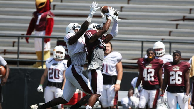 ULM's first-team defense sacked junior quarterback Caleb Evans four times and intercepted one pass.