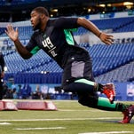In this Feb 28 file photo, Louisville Cardinals defensive lineman Sheldon Rankins participates in workout drills during the 2016 NFL Scouting Combine at Lucas Oil Stadium in Indianapolis. Rankins was selected with the 12th overall pick of the 2016 NFL Draft by the New Orleans Saints on Thursday.
