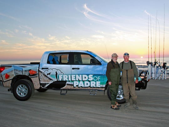 Jeff Wolda, Friends of Padre board member, with Billy Sandifer on Padre Island National Seashore.