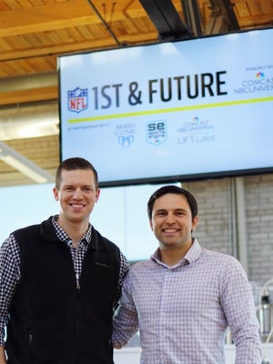 Zoltan Mesko, left, and Ben Rizzo will present their patent-pending device at the NFL's third annual 1st and Future start-up competition Saturday before Super Bowl LII in Minneapolis.