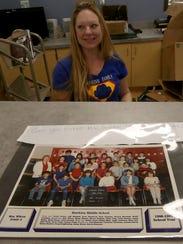 A 1986 class photograph of Monica Ayers attending Hawkins