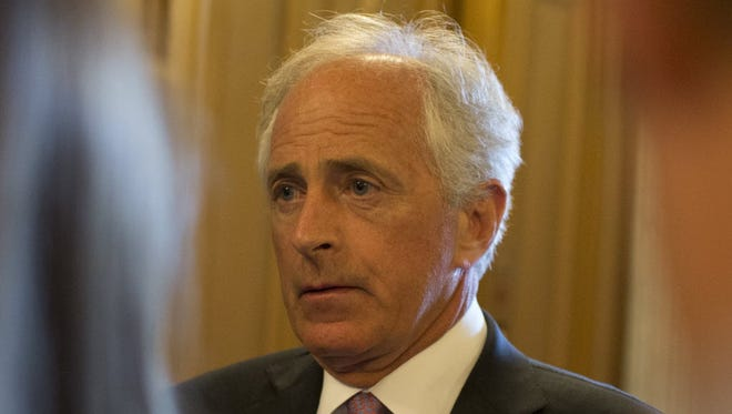 Sen. Bob Corker, R-Tenn., speaks to reporters at the Capitol on May 31, 2015.