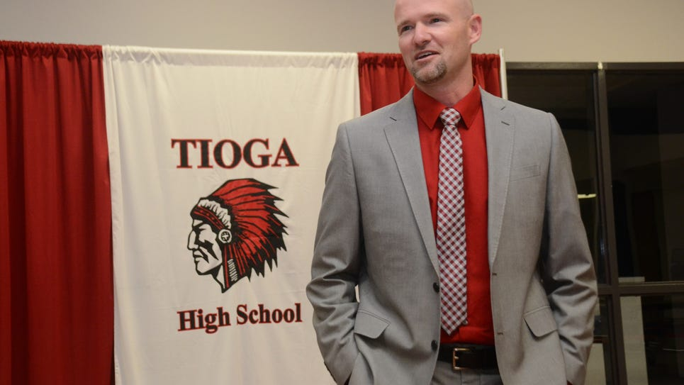 ANI Tioga Kevin Cook Kevin Cook was introduced Thursday as Tioga High School's new head coach.-Melinda Martinez/The Town Talk