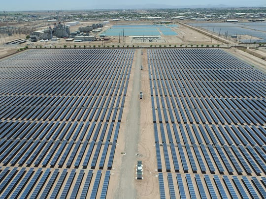 The 20-megawatt Sol Orchard solar farm in El Centro, California, seen from a drone. Sol Orchard, which sells its electricity to the Imperial Irrigation District, was developed by Jeff Brothers and Grupo T-Solar, with help from ZGlobal. The solar farm is next door to IID's battery storage project, which ZGlobal also helped build.