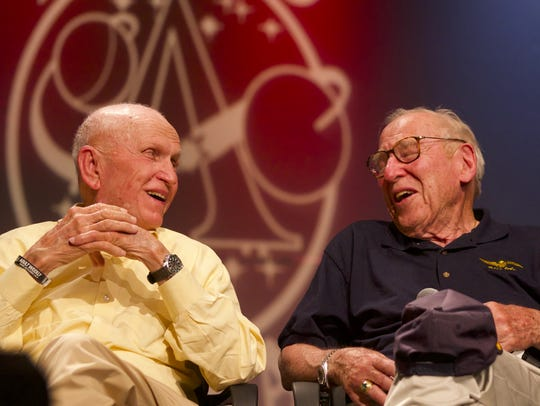 Apollo 8 astronauts Frank Borman and Jim Lovell take