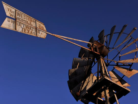 A windmill stands over the Merkel Area Historical Museum Friday.