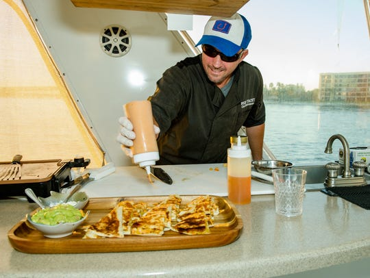 Chef Lindemann prepares Bacon Pineapple Shrimp Quesadillas