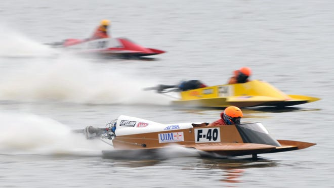Boats race through the water at the 2010 DePue boat races. The 2020 edition of the annual event was canceled because of the COVID-19 pandemic.