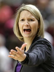 Northwestern State co-coach Brooke Stoehr yells to her players during the first half of the Lady Demons' loss at Texas A&M Wednesday.