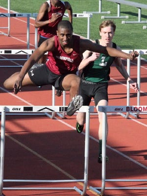 Bloomfield's Myles Toppin is a versatile athlete who excels in the 110 high hurdles, high, long and triple jumps.