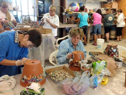 mosaic pot pottery class