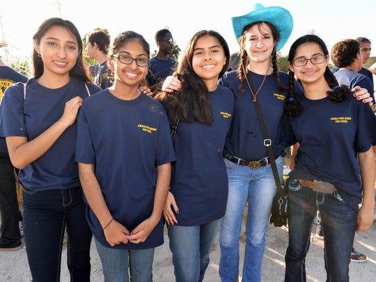 Lincoln Park Academy Key Club Members Juanita Maldonado, Hiba Pirani, Isabella Moreno , Cindy Montalvo and Anna Lovejoy