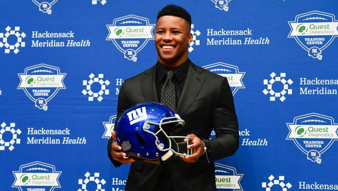 New York Giants first round draft pick Saquon Barkley during a press conference at Quest Diagnostics Training Center.